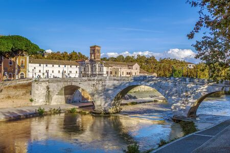 The Pons Cestius (Ponte Cestio, Cestius Bridge) is a Roman stone bridge in Rome, Italy, spanning the Tiber to the west of the Tiber Island.