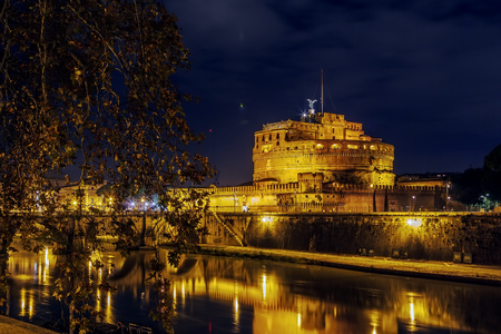 view of Castle of the Holy Angel with Tiber river, Rome. Evening