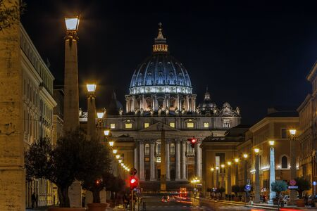 St. Peter Basilica is a church in the Renaissance style located in the Vatican City. Evening