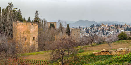 Panoramic view of Alhambra wall and Granada, Spain Editorial