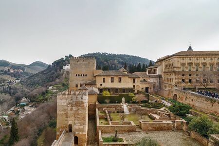View of Alhambra palaces from Alcazaba fortress, Spain Stock Photo