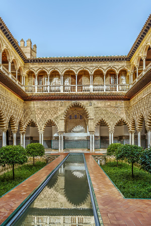 seville: Patio de las Doncellas (Courtyard of the Maidens) in Alcazar of Seville, Seville, Spain