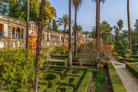 Garden and Gallery of Grutescos in Alcazar of Seville , Spain Stock Photo