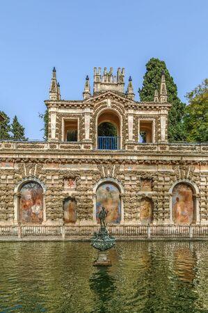 Pond of Mercury (Estanque de Mercurio) in Alcazar of Seville, Spain