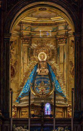 Interior of church of Santa Maria de la Asuncion, Carmona, Spain. Virgen de Gracia