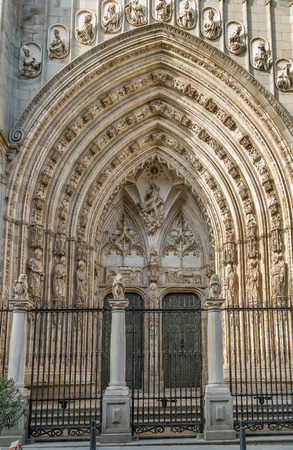 Portal of  Cathedral of Saint Mary of Toledo, Spain Editorial