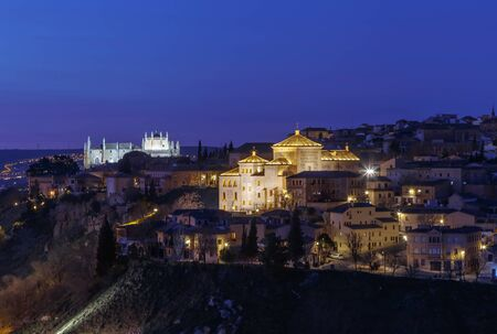 View of Toledo with Cortes of Castilla La Mancha in evening, Spain