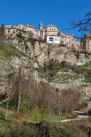 View of Cuenca historical center on rocks from Huecar River canyon, Spain