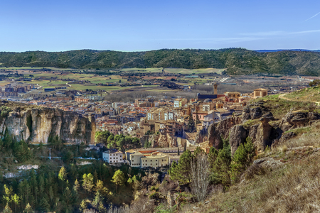View of Cuenca and neighborhood from above, Spain Lizenzfreie Bilder