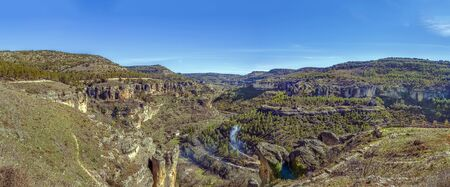 Panoramic view of Huecar River canyon from above near Cuenca, Spain Lizenzfreie Bilder