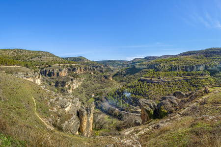 View of Huecar River canyon from above near Cuenca, Spain