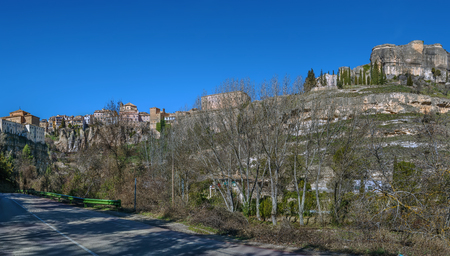 Panoramic view of Cuenca historical center on rocks from Huecar River canyon, Spain