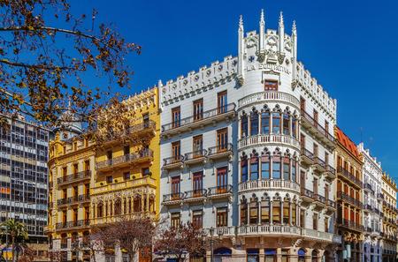 Building on square of the City Hall ( Plaza Ayuntamiento) in Valencia, Spain