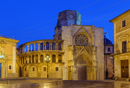 Valencia Cathedral or Basilica of the Assumption of Our Lady of Valencia, Spain. In evening