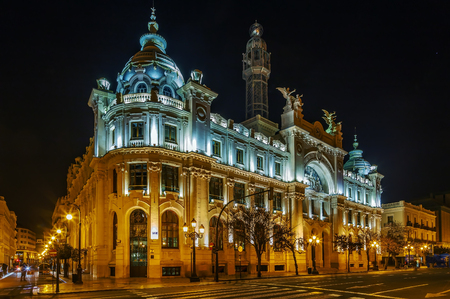 Central Post Office Building in evening, Valencia, Spain