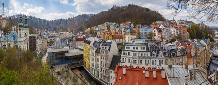 Panoramic view of historical center of Karlovy Vary from hill, Czech republic Reklamní fotografie