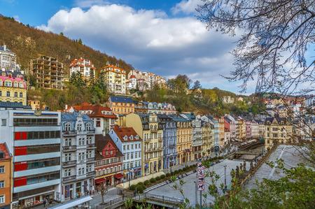 Historical houses along Tepla river in city center of Karlovy Vary, Czech republic Stock Photo