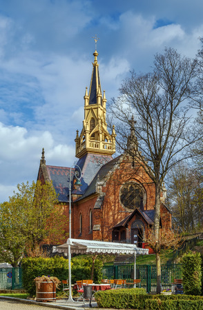 The Pseudo-Gothic Anglican Church of Saint Lucas was constructed between the years 1876 and 1877, Karlovy Vary, Czech republic Editorial