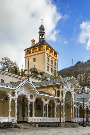 Castle Tower and Market Colonnade in the historical center of Karlovy Vary, Czech republic
