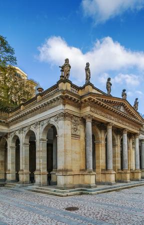 Mill Colonnade는 온천 마을 인 Karlovy Vary에 여러 개의 온천이 들어있는 커다란 성당입니다. Mill Colonnade는 124 개의 기둥이 있습니다.