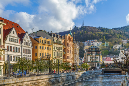 Tepla river in Karlovy Vary city center, Czech republic 版權商用圖片