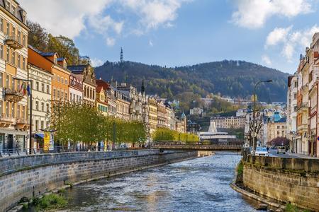 Tepla river in Karlovy Vary city center, Czech republic Stock Photo