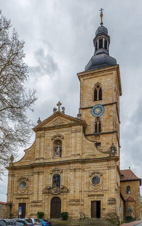 Baroque facade of St. Jacob church, Bamberg, Germany