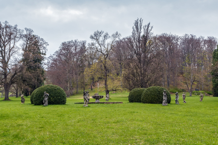 The Castle Garden with fountain and sculptures in Valec, Czech republic
