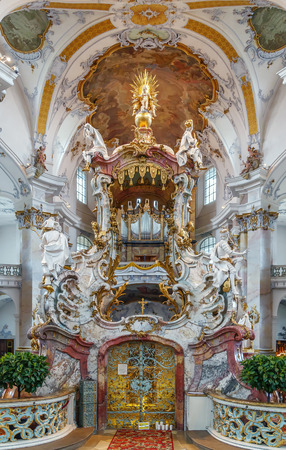 The Basilica of the Fourteen Holy Helpers, Germany.  The late Baroque-Rococo basilica, designed by Balthasar Neumann, was constructed between 1743 and 1772. Interior, mercy altar Editorial