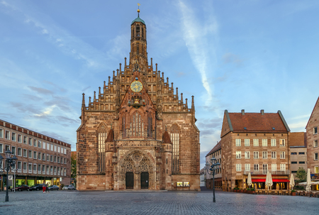 The Frauenkirche (Church of Our Lady) is a church in Nuremberg, Germany. An example of brick Gothic architecture, it was built between 1352 and 1362