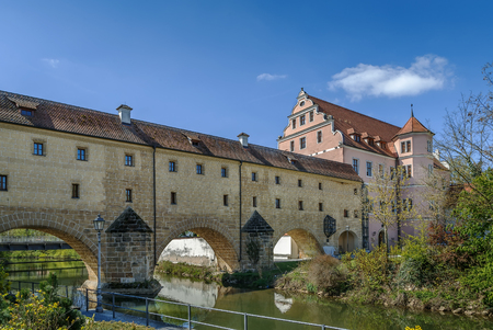 Stadtbrille is a bridge, originally a part of the town fortifications, Amberg, Germany Stok Fotoğraf