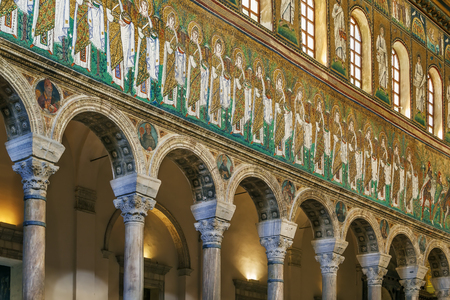 Mosaics on the side of the nave in Basilica of Sant Apollinare Nuovo, Ravenna. Italy Editorial