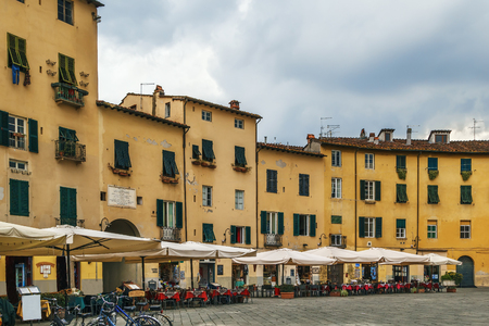 Former a Roman anphitheater, now Piazza Anfiteatro is one of the most famous place in Lucca, Italy