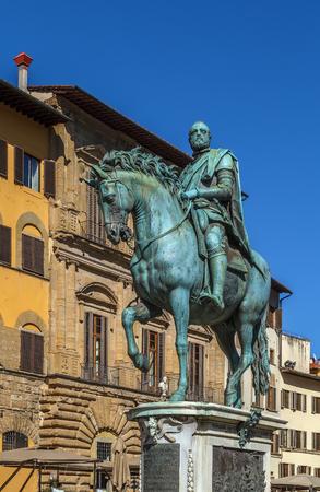 Bronze equestrian statue of Cosimo I on Piazza della Signoria in Florence, Italy