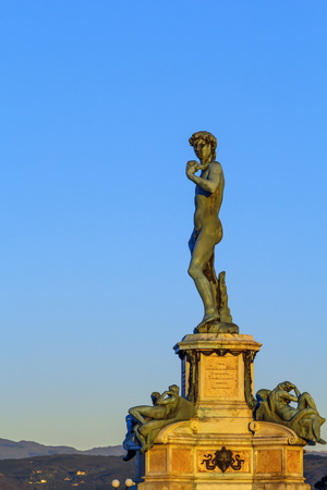 David replica statue on Michelangelo hill above Florence, Italy Editorial
