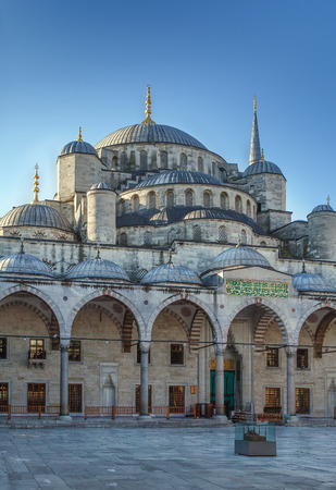 The Sultan Ahmed Mosque known as the Blue Mosque is an historic mosque in Istanbul, Turkey. View from inner courtyard.