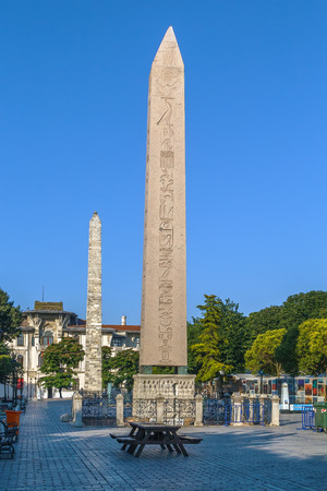 Hippodrome Square with Obelisk of Theodosius is the Ancient Egyptian obelisk of Pharaoh Thutmose III. Istanbul, Turkey