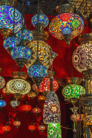 Turkish lamps for sale in the Grand Bazaar, Istanbul, Turkey Editorial