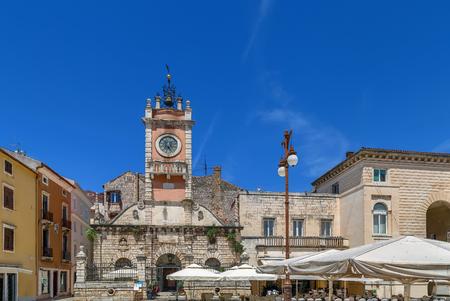 City Guard with clock tower, Zadar, Croatia 스톡 콘텐츠