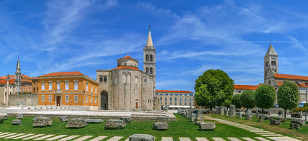 Panoramic view of Forum with Church of St. Donatus and St. Marys Church, Zadar, Croatia