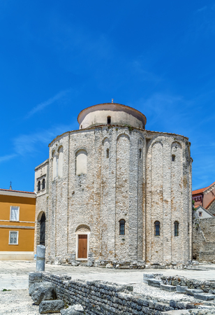 Church of St. Donatus is symbol of the city of Zadar and the most famous monumental edifice in Croatia from the early Middle Ages (9th c.)   Stock Photo