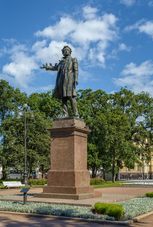 Monument to Alexander Pushkin on Arts Square in Saint Petersburg, Russia
