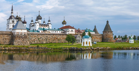 Solovetsky Monastery is a fortified monastery located on the Solovetsky Islands in the White Sea, Russia.Panoramic view from White sea