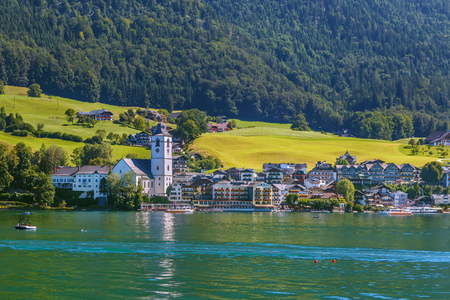 View of St. Wolfgang from Wolfgangsee lake, Austria Stock Photo