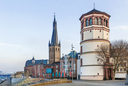 View of Dusseldorf historic center with Old Castle Tower and st Lambertus church, Germany