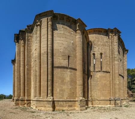 Santiago de Aguero Church is Romanesque temple in Aragon, Spain Фото со стока