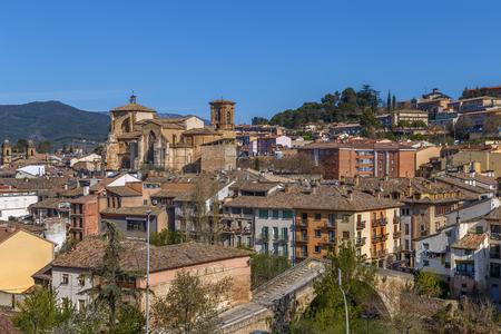 View of Estella-Lizarra city with San Miguel church, Spain