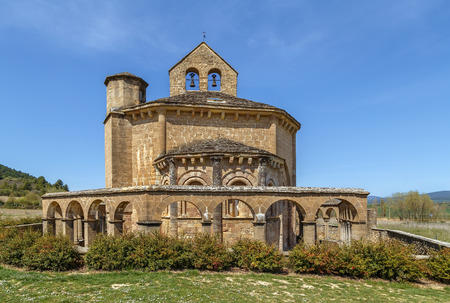 Church of Saint Mary of Eunate is a 12th-century Romanesque church located about 2 km south-east of Muruzabal, Navarre, Spain, on the Way of Saint James Reklamní fotografie