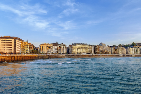 View of San Sebastian from Bay of Biscay, Spain