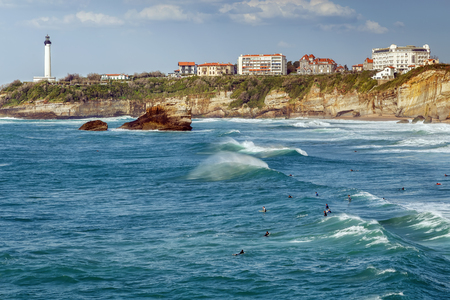 Waves on the Bay of Biscay in Biarritz, France